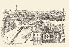 Streets in Paris, France, Vintage Hand Drawn Royalty Free Stock Photos