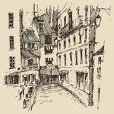 Streets in Paris, France, Vintage Hand Drawn Royalty Free Stock Images