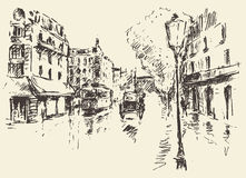 Streets Paris France vintage illustration drawn Stock Images
