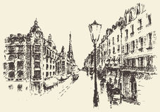 Streets Paris France vintage illustration drawn Stock Photography