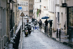 Streets of Paris in the Rain Stock Photography