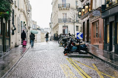 Streets of Paris in the Rain Royalty Free Stock Image