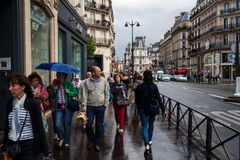 The streets of Paris on a rainy day Royalty Free Stock Image