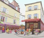 On the streets of Paris stock illustration
