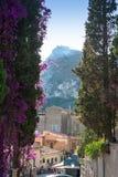 Streets and parks of Taormina Stock Photos