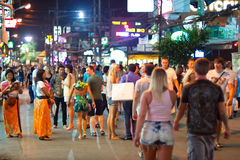 Streets of Patong with night life, Thailand Stock Image