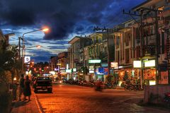 The streets of Phuket at night stock photography
