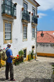 In the streets of the picturesque town of Obidos, Portugal Royalty Free Stock Photo