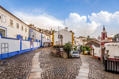 In the streets of the picturesque town of Obidos - Portugal Stock Photography
