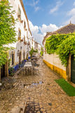 In the streets of the picturesque town of Obidos in Portugal Stock Image