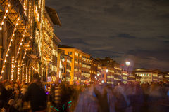 Streets of Pisa during Patron Saint festival, famous Luminara in Stock Photos