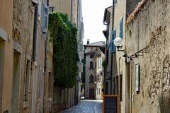 The streets of Porec Istria. Streets of the old town Porec Istria Croatia stock photography