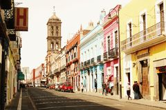 Streets of Puebla. Serendipity. Unexpected encounters royalty free stock photography