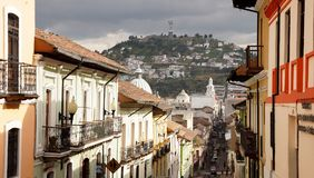Streets of Quito. Hill in Background royalty free stock photography