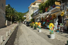 The streets of the resort in the colors  the sunflower Stock Photography