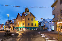 Streets in Reykjavik at Christmas time, Iceland Stock Photo