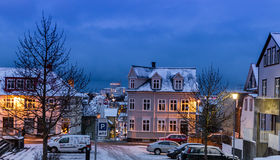 Streets in Reykjavik at Christmas time, Iceland Royalty Free Stock Photos