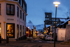 Streets in Reykjavik at Christmas time, Iceland Royalty Free Stock Image
