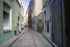 Streets of Riga old town. Empty streets of the old town of Riga pavers early summer morning Stock Photos