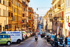 Streets of Rome are full of traffic and people throughout the day in Rome Stock Image