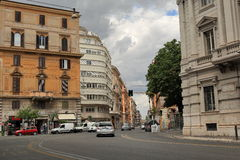 Streets of Rome with moving vehicles. Italy Royalty Free Stock Photo