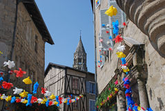 Streets of Saint-Leonard de Noblat in Limousin region Royalty Free Stock Image