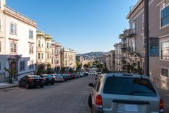 Parked cars on the San Francisco streets Stock Images