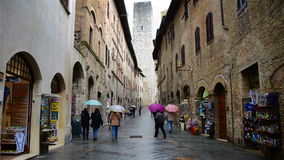 Streets of San Gimignano in Italy stock video footage