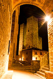 Streets of San Gimignano, in the night Royalty Free Stock Photo