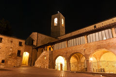 Streets of San Gimignano, in the night stock images