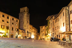 Streets of San Gimignano, in the night stock image