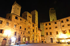 Streets of San Gimignano, in the night Royalty Free Stock Images