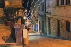 Streets of San Marino are decorated for Christmas and New Year celebration. SAN MARINO, SAN MARINO - DECEMBER 31, 2016: Streets of San Marino are decorated for Stock Photo