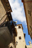Streets of San Marino and the national flag, Europe Stock Photography