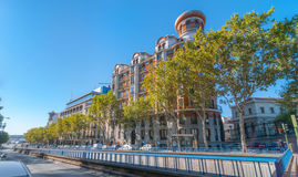 Streets scenes, Madrid.  View from Alfonso XII street where the tunnel begins.   Cars parked on the side of the street in Madrid. Stock Photos