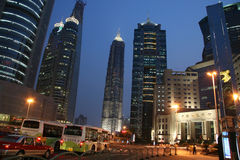 Streets of Shanghai Pudong skyline stock photography