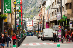 Streets with shops in Andorra la Vella Royalty Free Stock Image
