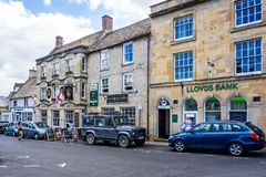 Streets and shops in historic cotswold town of Stow on the Wold. In Gloucestershire, UK on 3 August 2018 royalty free stock images