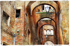 Streets of Siena, Italy , Tuscany Stock Photos