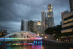 Streets of Singapore at night. Stock Images