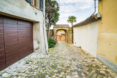 Streets of small hilltop village. Cobbled streets streets of a small hilltop village in Emilia Romagna in Italy Stock Photography