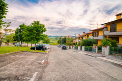 Streets of small hilltop village. Modern streets of a small hilltop village in Emilia Romagna in Italy Royalty Free Stock Image