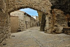 Streets of the small old spanish town Ares. Stock Images