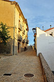 Streets of the small old spanish town Ares. Royalty Free Stock Image