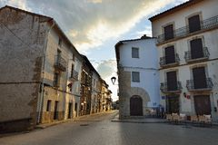 Streets of the small old town Ares in Spain. Stock Photography