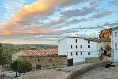 Streets of the small old town Ares in Spain. Royalty Free Stock Images