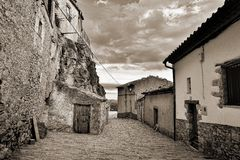 Streets of the small town. Ares in Spain. Royalty Free Stock Photos