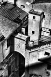 Streets of Sorrento. Sorrento. Streets, walls, roofs, stairs. Tightness. Black and white Stock Image