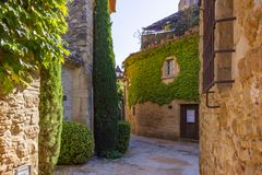 Streets and squares of Peratallada royalty free stock image