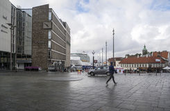Streets of stavanger. In southern Norway. You see people walking on a rainy day. It is an editorial image stock photos